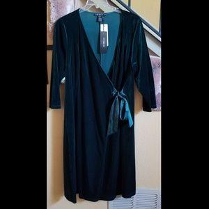 Rich Green Velvet Wrap Dress